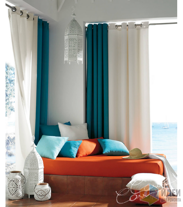 Различные оттенки бирюзы в текстиле, дизайн интерьера: Carole Carr Design