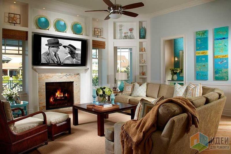 Бирюзовые акценты: посуда, панно и кофейный столик. Дизайн интерьера: Studio M Interior Design