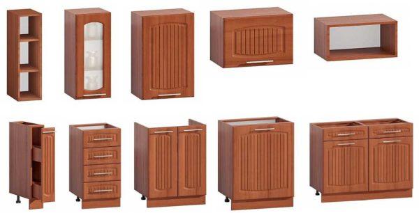 Размеры - ширина, глубина, высота - бывают разные, что и позволяет подобрать модульную кухню как в малогабаритное помещение, так и в просторное