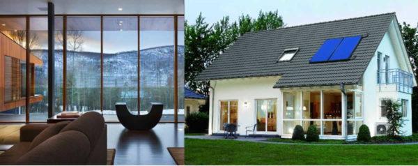 Панорамные окна могут быть из цельного стекла, или из кусков, разделенных импостами