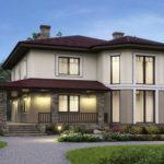 Дом с эркером и панорамными окнами