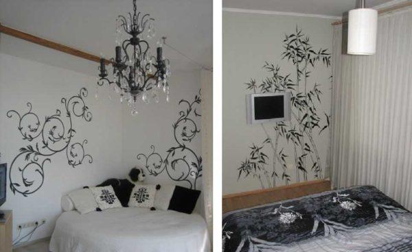 Трафарет для покраски стен размещают там, где есть довольно большой кусок свободного пространства