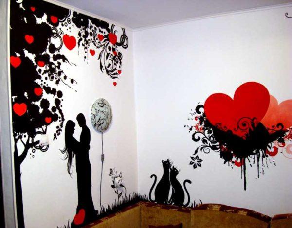 Для этой картины нудны были два трафарета - под черный и красный цвет