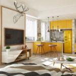 Bon appetit: проект квартиры-студии с горчичными акцентами и шармом скандинавского стиля