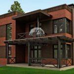В этом проекте кирпичного дома в стиле минимализм кровля имеет свесы