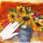 Ваза с подсолнухами из шерсти — картины из необычных материалов