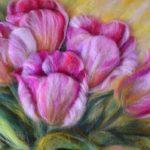 Объемные тюльпаны. Более сложная техника, много деталей и разнонаправленных нитей