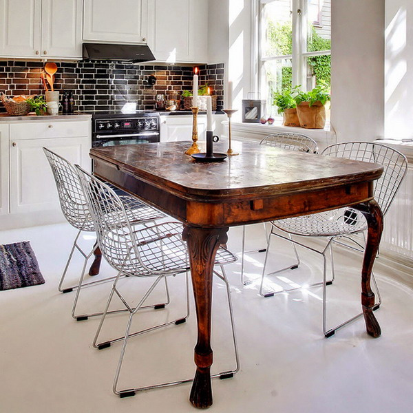 how-to-match-antique-table-and-designer-chairs