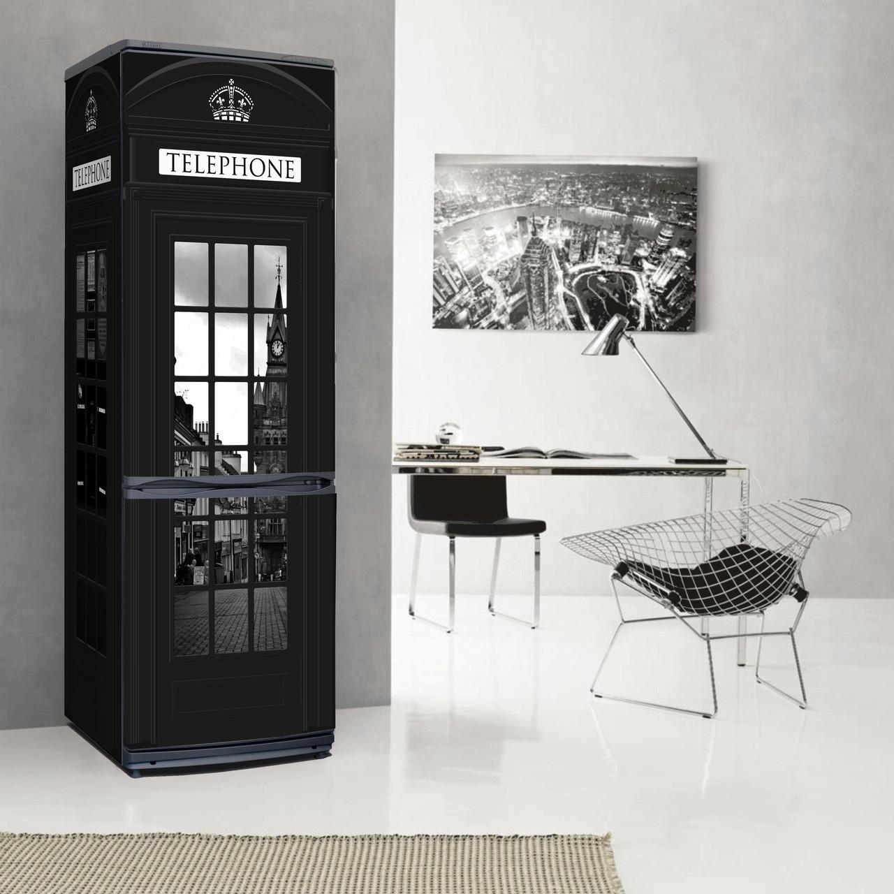 Черный холодильник в стиле лондон