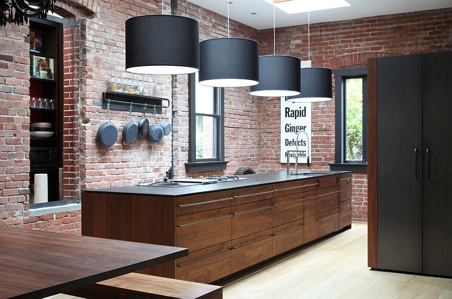 Кухня в стиле хай-тек - стены кирпичная кладка